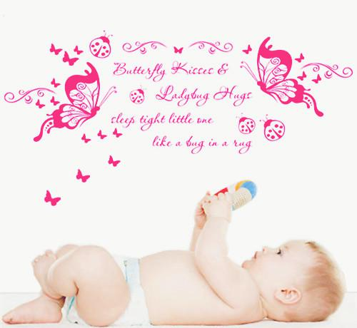 Butterfly Kisses Wall Quote Nursery Wall Decal Decor Sticker Girl - Nursery wall sticker quotes