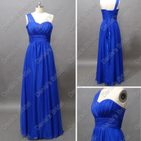 Wholesale Maxi Dress Chiffon One Shoulder - Royal Blue Chiffon Bridesmaid Dresses A Line One Shoulder Sweetheart Maxi Actual Real Images DB202