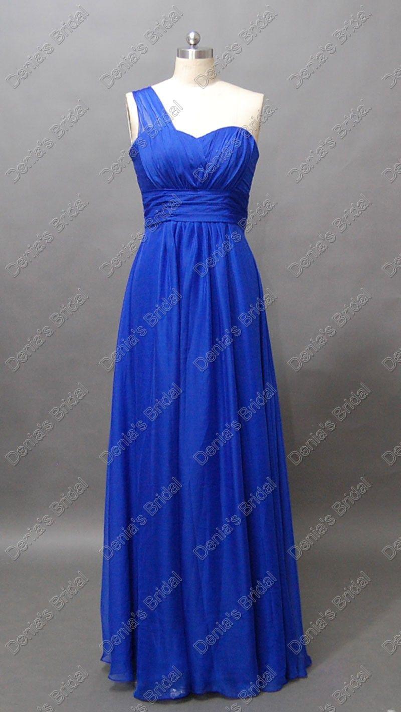 Royal Blue gasa vestidos de dama de honor una línea de un hombro Maxi amor real imágenes reales DB202