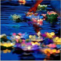 lanternas flutuantes da água da flor venda por atacado-Desejando lâmpada de lótus lâmpadas Flor de papel Lotus desejo lanterna de água flutuante luz de vela