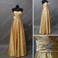 Wholesale Real Actual Photos Bridesmaid Dresses - 2017 Cheap Gold Bridesmaid Dresses Real Image 2015 A Line Sweetheart Beaded Floor Length Gown Actual Dhyz 01