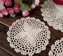 Coaster Doilies Canada - Free shipping18CMX18CM 12 PCS LOT cotton Doily hand made Crochet cup mat,Ecru coaster CD027