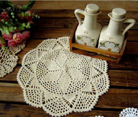 Wholesale Ecru Crochet Doily Mat - Free shipping cotton hand made Crochet cup mat,Ecru Doily ,Natural 28CMX28CM Round 12PCS LOT CD030