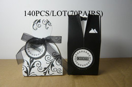 Bride Groom Favour Boxes Canada - Wedding Favour boxes wholesale and retail140PCS LOT(70PAIRS)FB9845 CHERISH bride&groom favor boxes