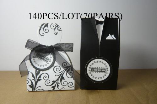 Wedding Favour boxes wholesale and retail140PCS/LOT(70PAIRS)FB9845 CHERISH bride&groom favor boxes