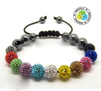 Wholesale Disco Magnetite - 20 x Hot Sell 10MM Disco Magnetite disco crystal Ball Beads Macrame 11 Crystal Bracelet