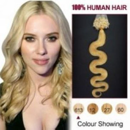 """Wholesale ring loop hair extensions - 16""""- 24"""" #613 WAVY Micro Ring Loop Hair Extensions 1g s 100s lot blonde HUMAN hair Body Wave dhl free shpping"""