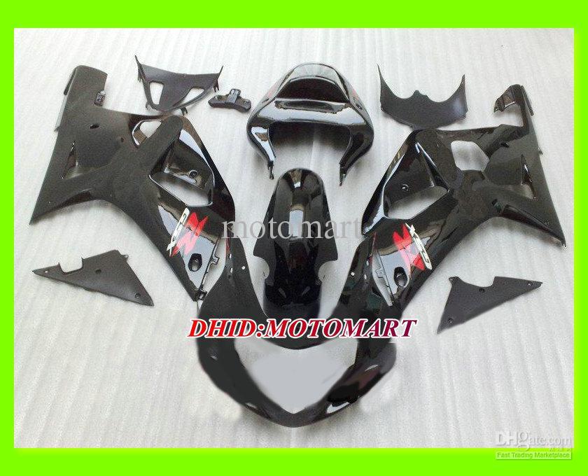 Carenado negro brillo de alta calidad para GSXR600 750 01 02 03 GSXR600 750 2001 2002 2003 K1 conjunto de carenados