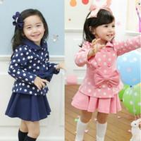Wholesale Blue Dot Skirt Girls - 2016 spring autumn children girl two-piece suit long sleeve round dot bowknot coat+ short skirt kid sets TZ21