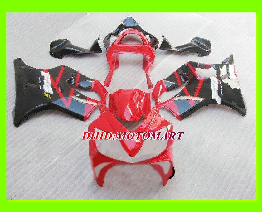 Kit de Carenagem Motocicleta personalizado para HONDA CBR600F4I CBR600 F4I 2001 2002 2003 CBR 600 F4I 01 02 03 Vermelho balck