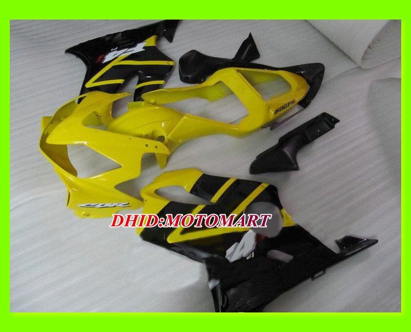 Motorfiets Fairing Kit voor HONDA CBR600F4I 01 02 03 CBR600 F4I 2001 2002 2003 CBR 600 F4I GELE BLACKELEERS SET