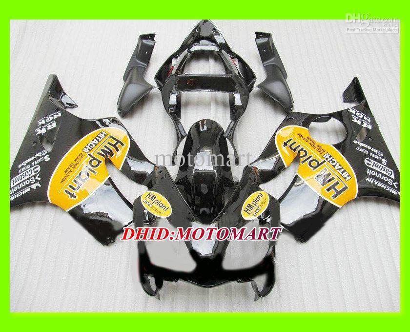 Molde de inyección Kit de carenado negro para HONDA CBR600F4I 01 02 03 CBR600 F4I 2001 2002 2003 CBR 600 F4I Conjunto de carenados