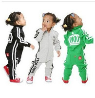 Wholesale Sport One Piece Romper - 2016 Children baby boys girl long sleeve crown sport Romper kid one-piece dress 4 color