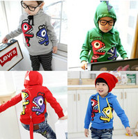 Wholesale Boys Dinosaur Hoodies - New children boys girl long sleeve dinosaur hoodie hoodie sports wear coat jacket