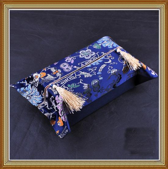 Boîte à mouchoirs en tissu de fleurs chinoises Housse de serviette de visage en brocart de soie de haute qualité
