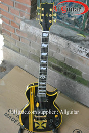 Wholesale Aged Black Guitar - custom Black guitar Jam Hetfield Iron Cross Aged Electric Guitar China Guitar