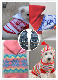 Wholesale Order Small Hats - Free shipping dog christmas sweater clothes coat apparel with hat XS S M L XL mixed order