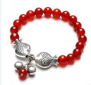 Prata tibetano beijando peixe ágata vermelha frisado pulseira elasticidade Double Fish gem Handmade New arrival