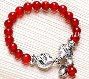 Tibetansk silver kyssande fisk röd agat pärlstav armband elasticitet dubbel fisk pärla handgjorda nya ankomst 15st