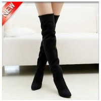Wholesale Thigh High Slim Boots - Fashion Jackboots Over The Knee Boots For Women Faux Suede Upper Stretch Fabric Slim Boots Factory P