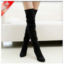 Wholesale Grey Suede High Heels - Fashion Jackboots Over The Knee Boots For Women Faux Suede Upper Stretch Fabric Slim Boots Factory P