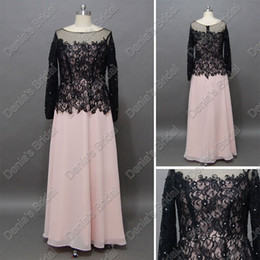 Wholesale Chiffon Lace Bolero - 2017 Elegant Black Lace Bolero Mother Of The Bride Dresses Pink Floor Length Real Actual Images DB217