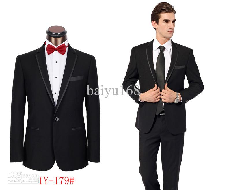 2018 New Solid Black Wool Men\'s Suits Jacket Pants Hight Quality 44 ...