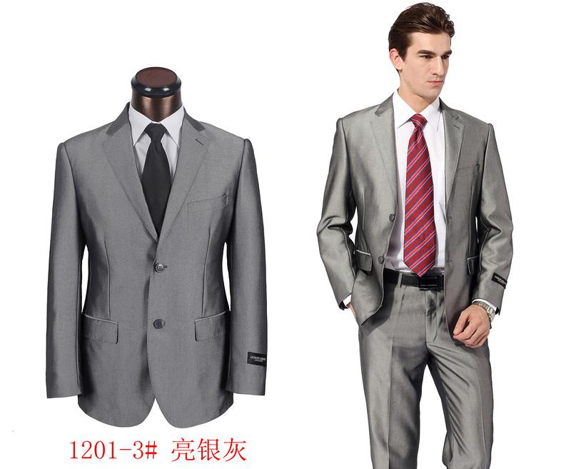 2017 Mens Suit Silver Dark Grey Shiny 2 Button Work Wedding Party ...