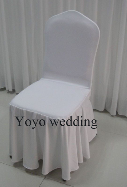 100PCS MOQ White Color Swag Bottom Spandex Banquet Chair Cover With Free Shipping For Wedding Use