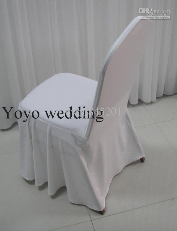 100 stks MOQ witte kleur swag bodem spandex banket stoel dekking met gratis verzending voor huwelijksgebruik