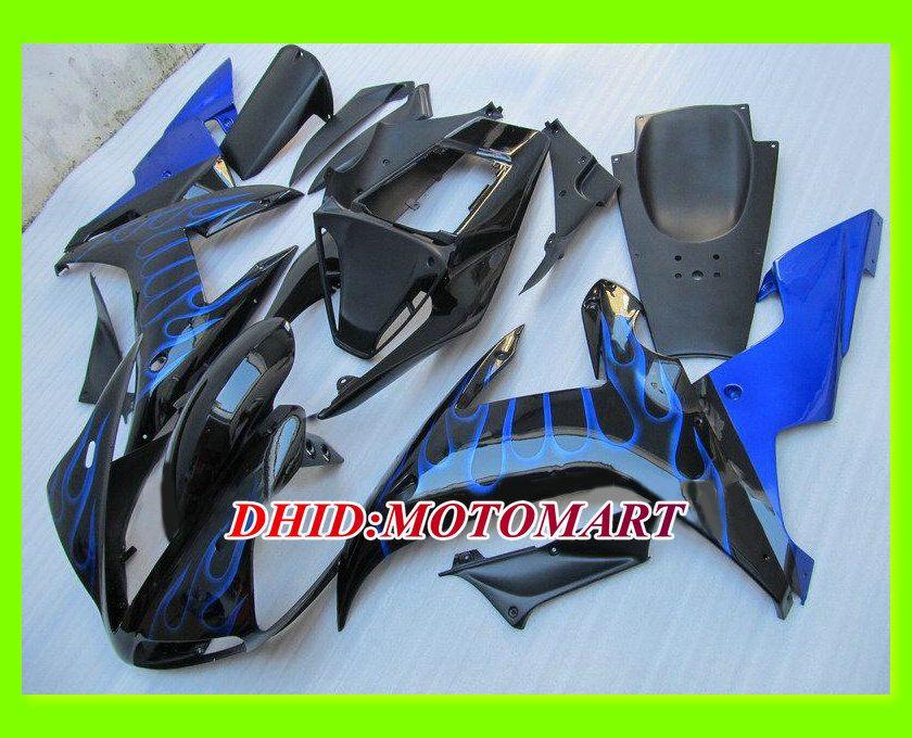 Blue flames black fairings set for YAMAHA YZFR1 02 03 YZF R1 2002 2003 YZF-R1 02-03 r1 custom accepted