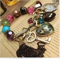 Wholesale Resin Heart Large - New fashion girls restore ancient ways large heart tassels gemstone hand chain women lady bracelet bangle
