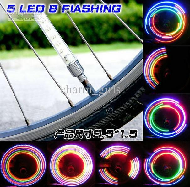 5つのLED 32異なる照明自転車タイヤバルブの発光ホットホイール50箱= 100ピース