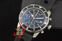 Wholesale Complete Machinery - Luxury Brand New Aeromarine SuperOcean Heritage Chrono Automatic Machinery Mens Watch Black Rubber Strap Luxury Men's Sport Watch