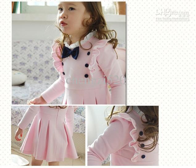 10ピース/ロットEMS子供秋の素敵なドレスボウショルダーノットドレス