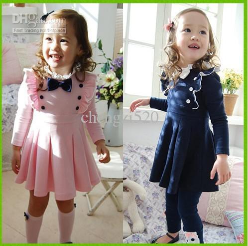/ EMS 어린이 가을 사랑스러운 드레스 보우 어깨 매듭 드레스