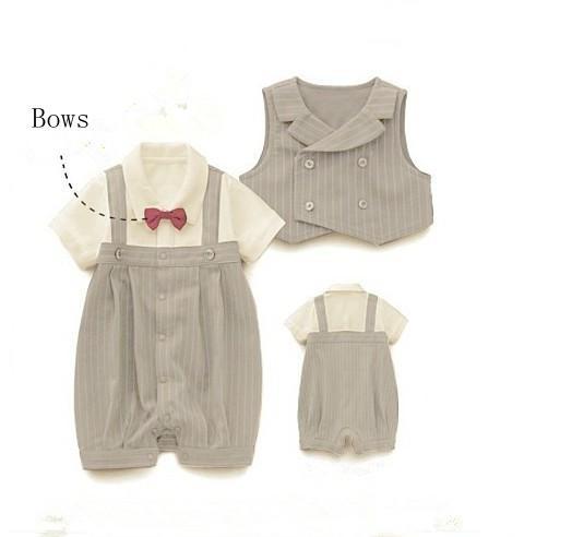 Pojkar Bow Tie Gentleman Set Rem Lämna + Waistcoat