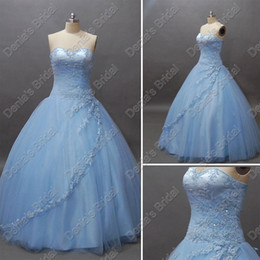 Robes De Mariée Allumées Pas Cher-Glamorous Strapless Princess 2017 Robes de mariée Light Skyblue Tulle Ball Gowns Real Real Images Robes de mariée DB231