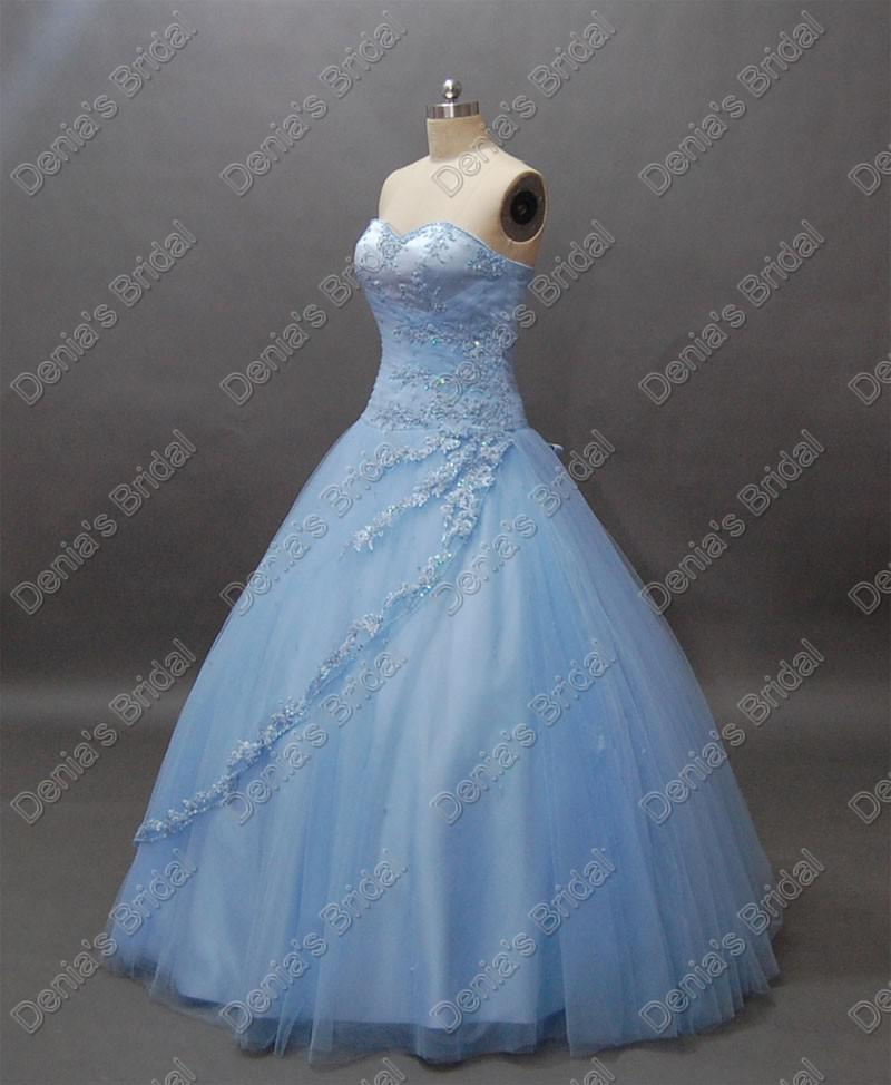 Glamoureuze strapless prinses 2017 trouwjurken licht skyblue tule baljurken werkelijke echte beelden bruidsjurken DB231