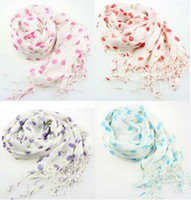 Wholesale Wholesale Cherry Scarf - idealway New Fashion Style Hot Sell Ladies Chiffon Edging Pretty Cherry Scarves 3colors mix 9pcs lot