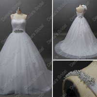 Wholesale Portrait Photos - 2016 One Shoulder Designer Wedding Dresses Beaded Puffy Tulle Ball Gown Annika Actual Real Images Bridal Gowns