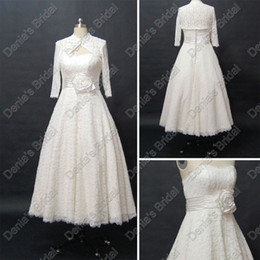 Wholesale Lace Pearl Wedding Ribbon - Noble Strapless Princess Lace Wedding Dresses With Sleeves Bolero Actual Real Images DB235