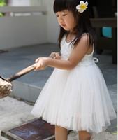 чистые белые завесы оптовых-Дети Чистый Белый Вуаль Платья Хлопок Жилет Слоеного Платья