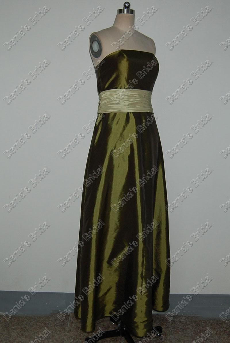 Verde Junoesque dama Exército Vestidos Cor vestido com uma ampla faixa reais imagens reais DB104
