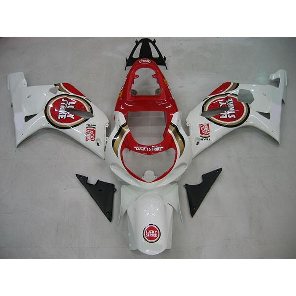 Högkvalitativa Fairings för Suzuki GSX R1000 GSXR1000 2000 2002 Lucky Strike Fairing Kit med vindruta