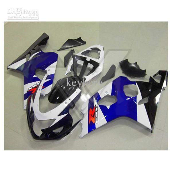 Freeship fairings for ABS Suzuki GSX-R600 R750 2004 2005 GSX R600 R750 04 05 White&blue Fairing kit