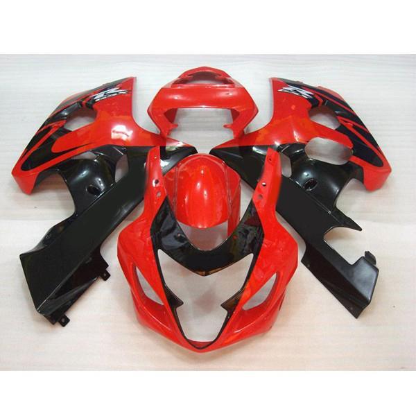 El carenado personalizado para Suzuki GSX-R600 R750 2004-2005 Red / Black racing Fairing kit, añade calcomanías gratis