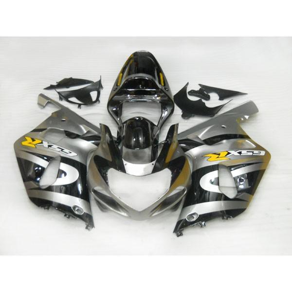 Custom Body Kits för Suzuki GSX R1000 GSXR1000 Silver / Black 2000 2001 2002 Fairing, Lägg till klisterfri