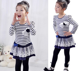 Wholesale Girls Brown Striped Dress - 2015 Girls Dresses Spring Girls Cotton Striped Princess NEW Style Dress Lace Double Skirts