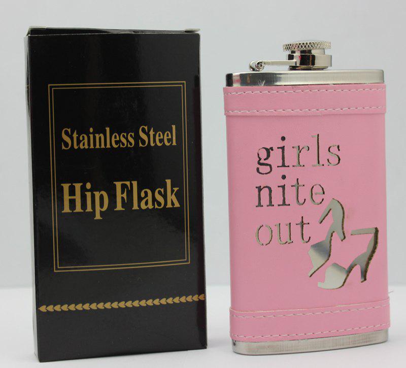 ピンクの「女の子ナイトアウト」6ozステンレス鋼のヒップフラスコ